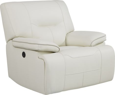 Cindy Crawford Home Caletta Off-White Leather Power Recliner