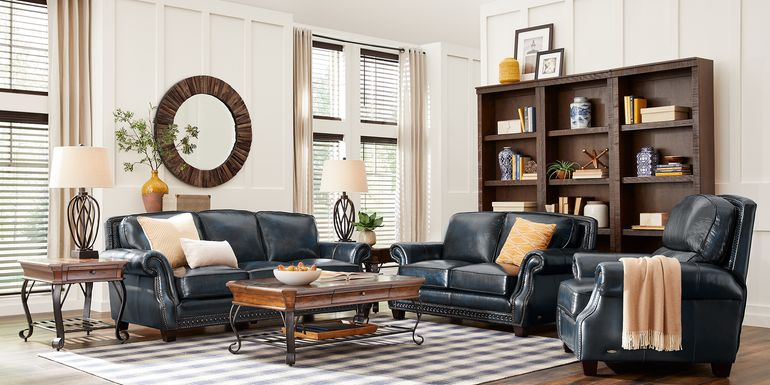 Cindy Crawford Home Calvano Blue Leather 3 Pc Living Room