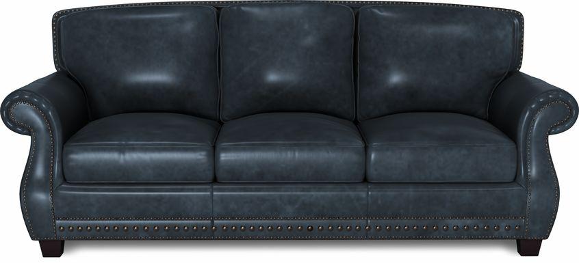 Cindy Crawford Home Calvano Blue Leather Gel Foam Sleeper