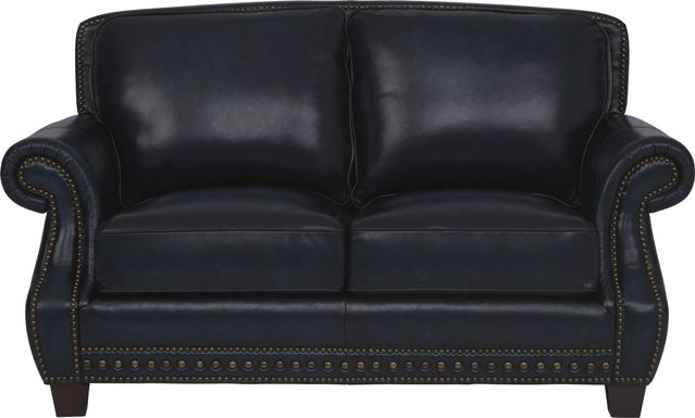 Cindy Crawford Home Calvano Blue Leather Loveseat