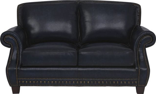 Cindy Crawford Home Calvano Blue Leather Loveseat