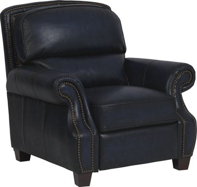 Cindy Crawford Home Calvano Blue Leather Recliner