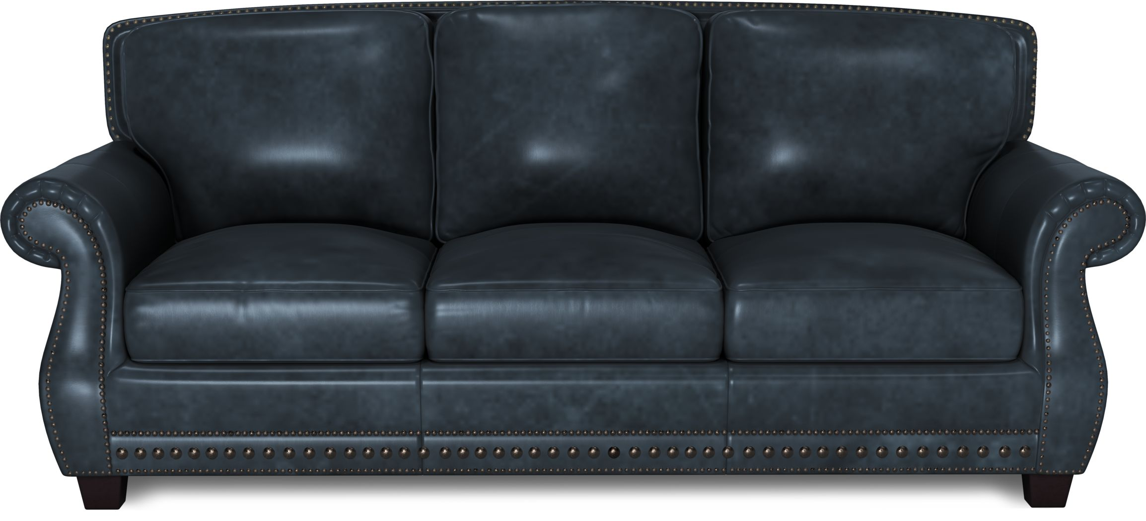 Cindy Crawford Home Calvano Blue Leather Sleeper