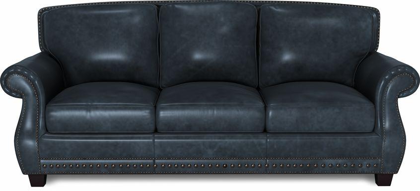 Cindy Crawford Home Calvano Blue Leather Sofa