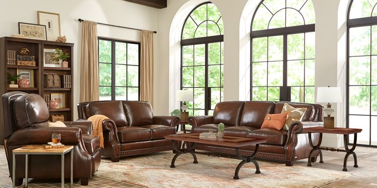 Cindy Crawford Home Calvano Brown Leather 3 Pc Living Room