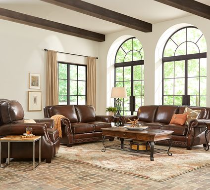 Cindy Crawford Home Calvano Brown Leather 5 Pc Living Room