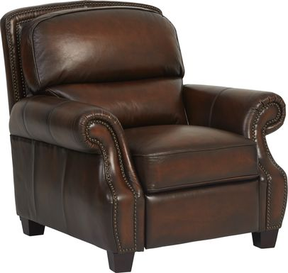 Cindy Crawford Home Calvano Brown Leather Recliner