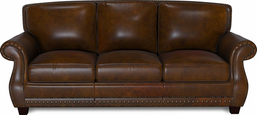 Cindy Crawford Home Calvano Brown Leather Sofa