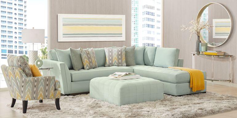 Cindy Crawford Home Calvin Heights Aqua Microfiber 2 Pc Sectional
