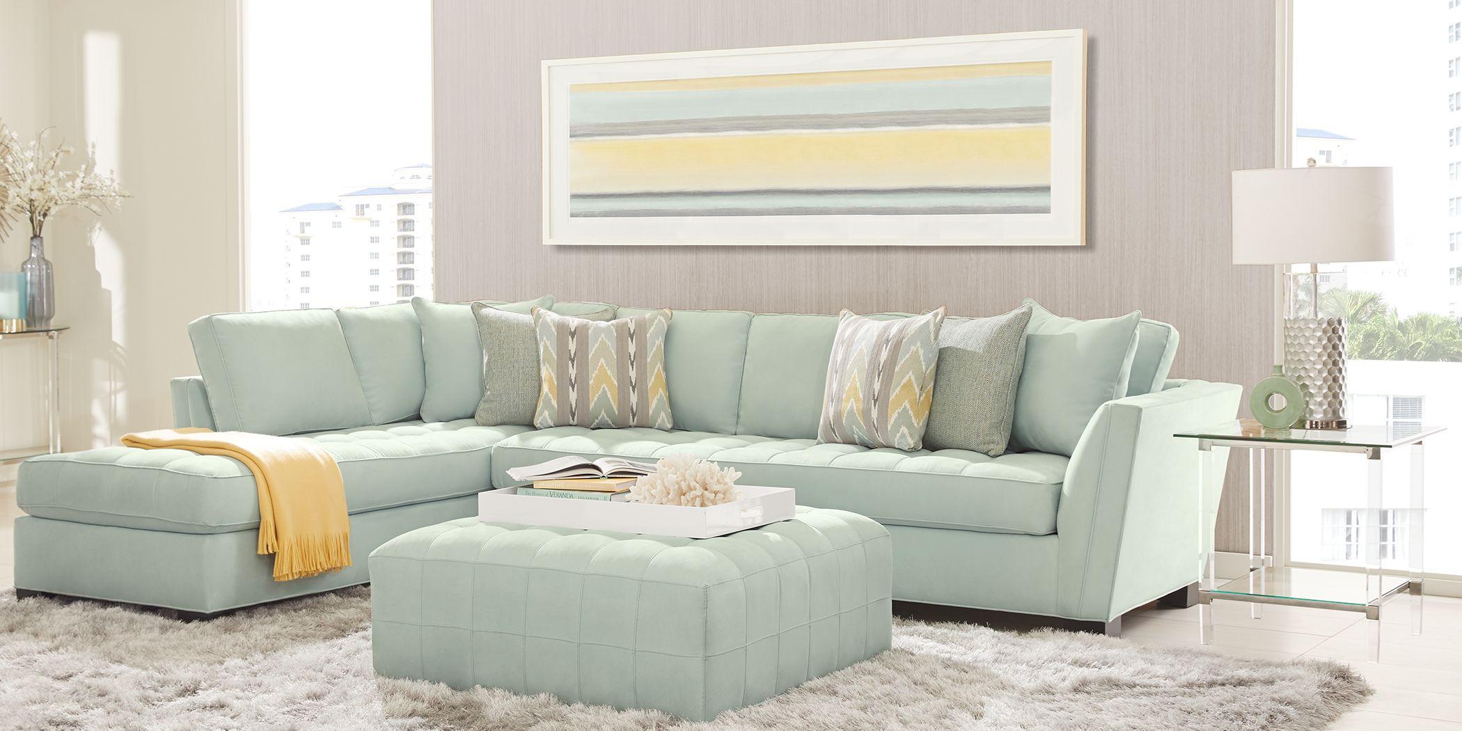 Cindy Crawford Home Calvin Heights Aqua Microfiber 2 Pc XL Sectional