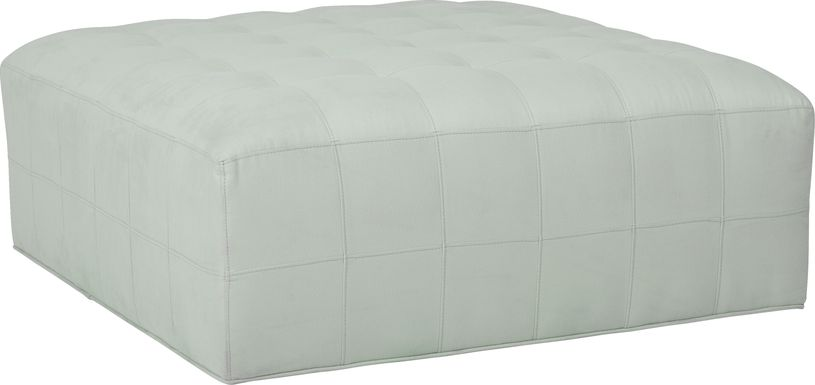 Cindy Crawford Home Calvin Heights Aqua Microfiber Cocktail Ottoman