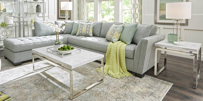 Cindy Crawford Home Calvin Heights Bluestone Textured 2 Pc XL Sectional