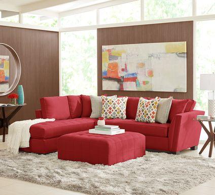 Cindy Crawford Home Calvin Heights Cardinal Microfiber 2 Pc Sectional