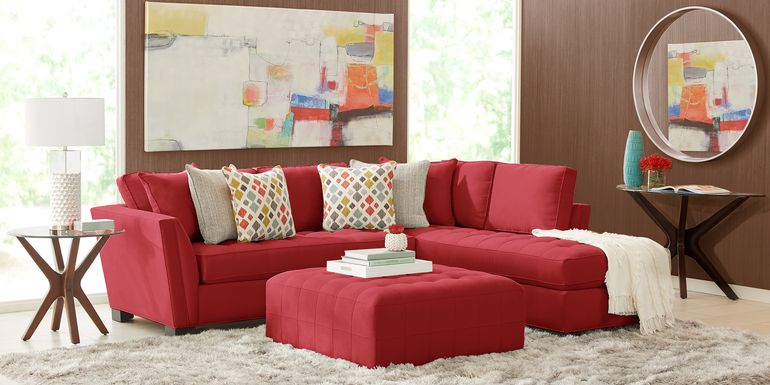 Cindy Crawford Home Calvin Heights Cardinal Microfiber 2 Pc Sectional