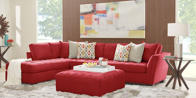 Cindy Crawford Home Calvin Heights Cardinal Microfiber 2 Pc XL Sectional