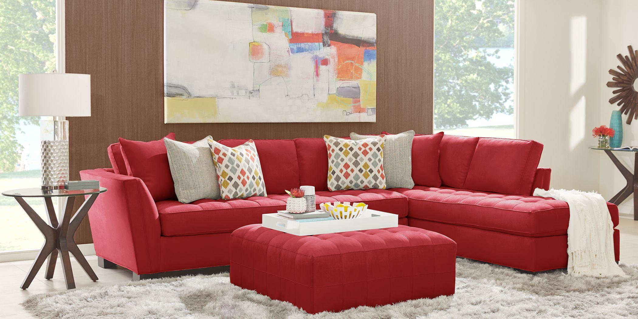 Cindy Crawford Home Calvin Heights Cardinal Microfiber 2 Pc XL Sectional