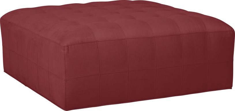 Cindy Crawford Home Calvin Heights Cardinal Microfiber Cocktail Ottoman