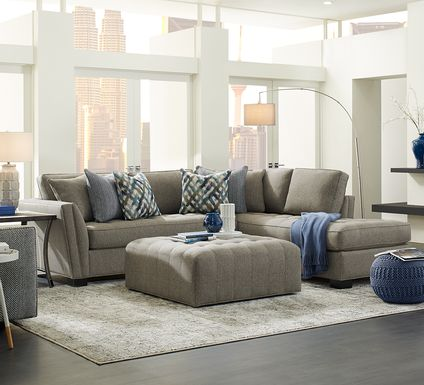 Cindy Crawford Home Calvin Heights Cobblestone Textured 2 Pc Sectional