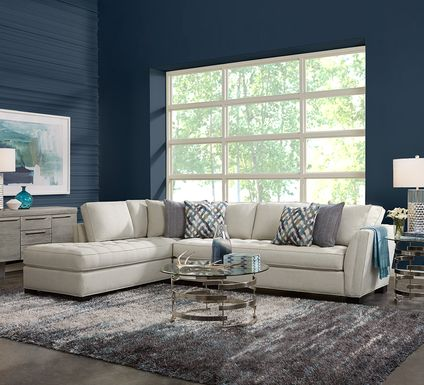 Cindy Crawford Home Calvin Heights Oatmeal Textured 2 Pc XL Sectional