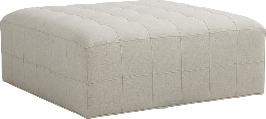 Cindy Crawford Home Calvin Heights Oatmeal Textured Cocktail Ottoman