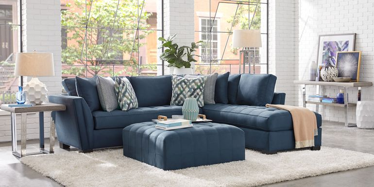 Cindy Crawford Home Calvin Heights Sapphire Microfiber 2 Pc Sectional