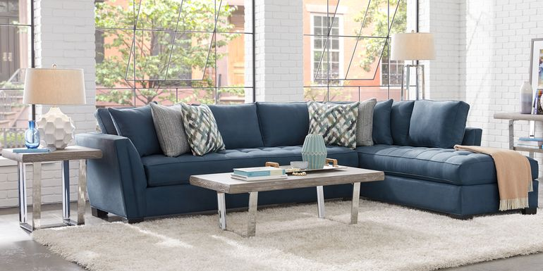Cindy Crawford Home Calvin Heights Sapphire Microfiber 2 Pc XL Sectional