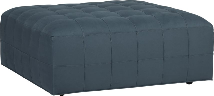 Cindy Crawford Home Calvin Heights Sapphire Microfiber Cocktail Ottoman