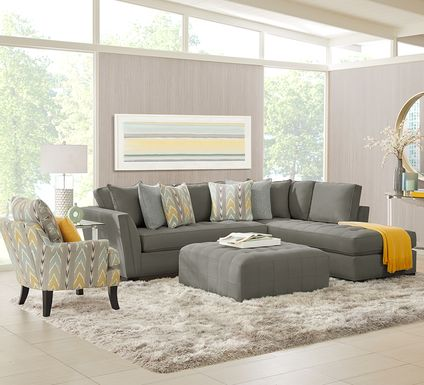 Cindy Crawford Home Calvin Heights Steel Microfiber 2 Pc Sectional