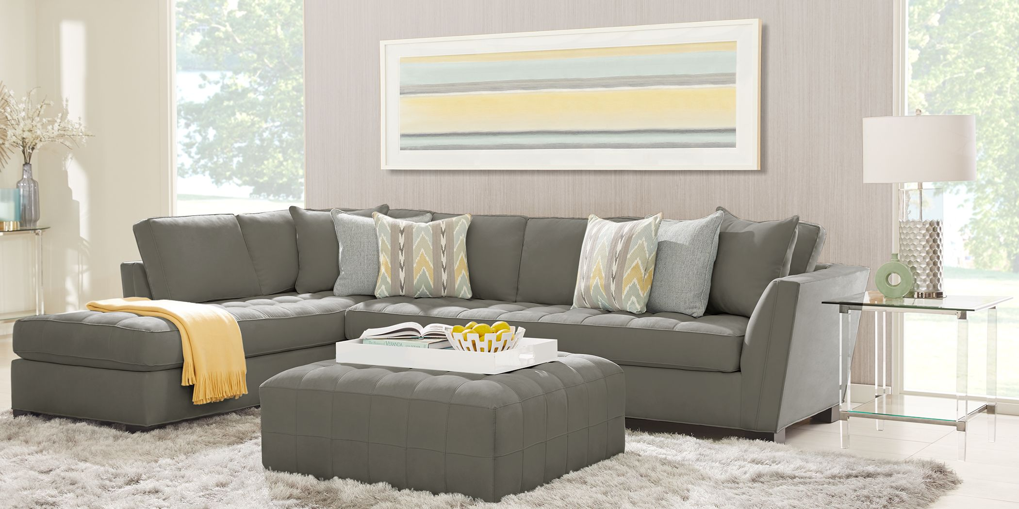 Cindy Crawford Home Calvin Heights Steel Microfiber 2 Pc Xl Sectional Rooms To Go