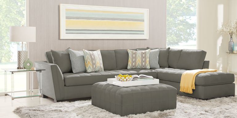 Cindy Crawford Home Calvin Heights Steel Microfiber 2 Pc XL Sectional