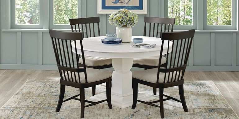 Cindy Crawford Home Cape Cottage White 5 Pc Dining Set with Black Chairs