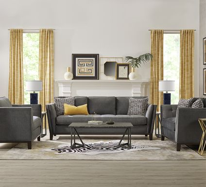 Cindy Crawford Home Central Boulevard Gray Plush 7 Pc Living Room