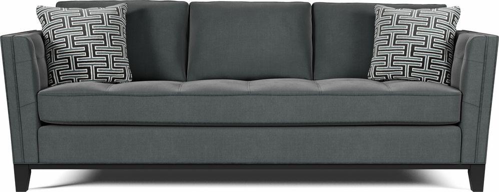 Cindy Crawford Home Central Boulevard Gray Plush Sofa
