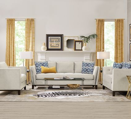 Cindy Crawford Home Central Boulevard Off-White Textured 7 Pc Living Room