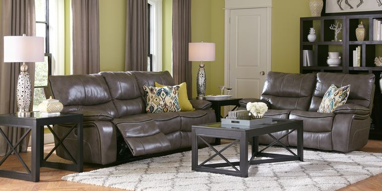 Cindy Crawford Home Gianna Gray Leather 3 Pc Living Room with Reclining Sofa