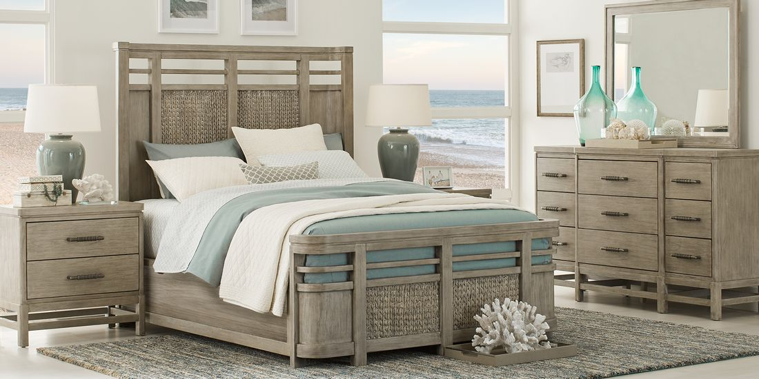 Modern Gray Panel Bedroom Set with Matching Dresser & Nightstand
