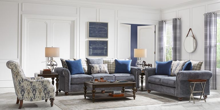 Cindy Crawford Home Greenwich Pointe Navy 5 Pc Living Room
