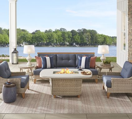 Cindy Crawford Home Hamptons Cove Gray 4 Pc Fire Pit Set with Denim Cushions