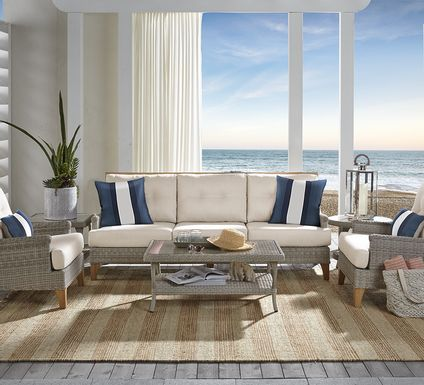 Cindy Crawford Home Hamptons Cove Gray  4 Pc Outdoor Seating Set with Flax Cushions
