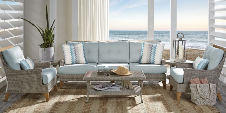 Cindy Crawford Home Hamptons Cove Gray 4 Pc Outdoor Seating Set with Mist Cushions