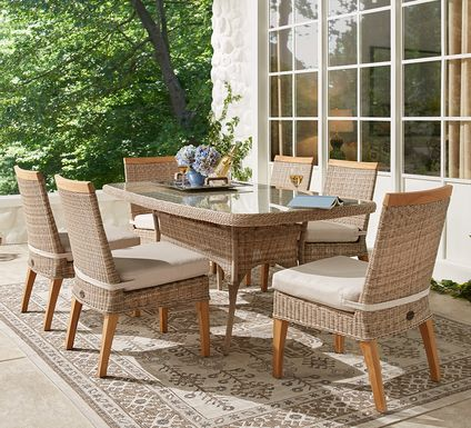 Cindy Crawford Home Hamptons Cove Gray 5 Pc Rectangle Outdoor Dining Set with Flax Cushions