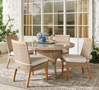 Cindy Crawford Home Hamptons Cove Gray 5 Pc Round Outdoor Dining Set with Flax Cushions