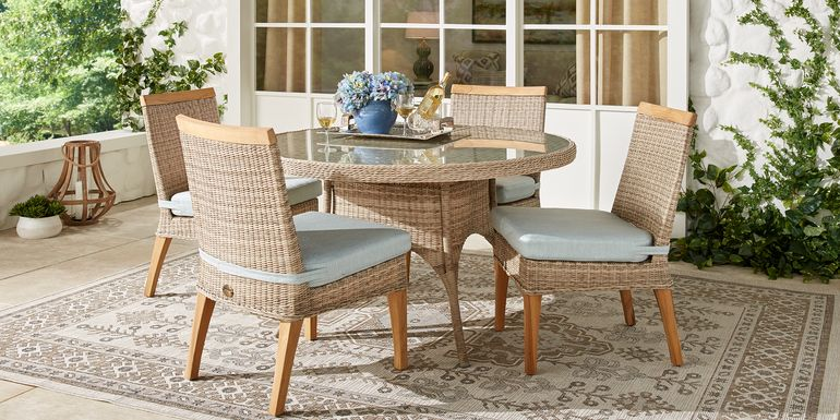 Cindy Crawford Home Hamptons Cove Gray 5 Pc Round Outdoor Dining Set with Mist Cushions