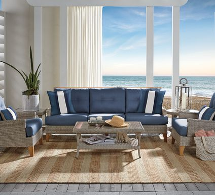 Cindy Crawford Home Hamptons Cove Gray 6 Pc Outdoor Seating Set with Denim Cushions