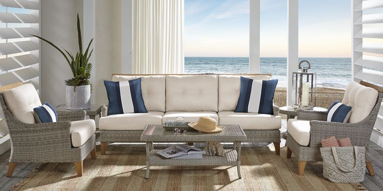 Cindy Crawford Home Hamptons Cove Gray 6 Pc Outdoor Seating Set with Flax Cushions