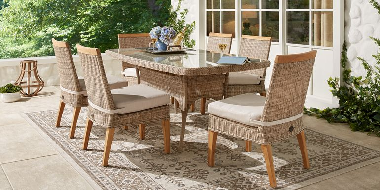 Cindy Crawford Home Hamptons Cove Gray 7 Pc Rectangle Outdoor Dining Set with Flax Cushions
