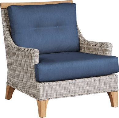 Cindy Crawford Home Hamptons Cove Gray Outdoor Chair with Denim Cushions
