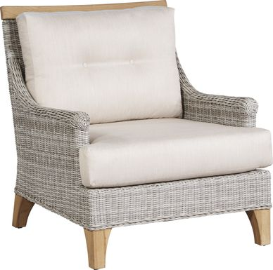 Cindy Crawford Home Hamptons Cove Gray Outdoor Chair with Flax Cushions