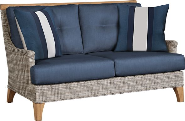 Cindy Crawford Home Hamptons Cove Gray Outdoor Loveseat with Denim Cushions