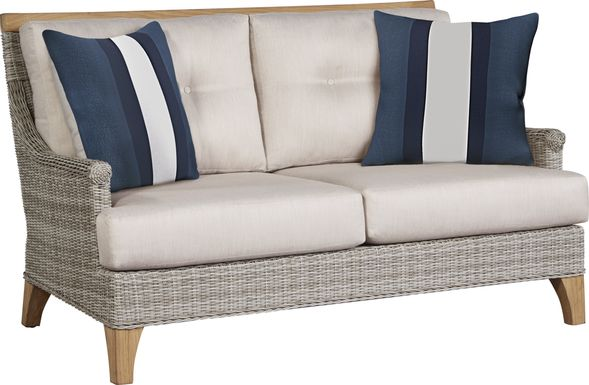 Cindy Crawford Home Hamptons Cove Gray Outdoor Loveseat with Flax Cushions